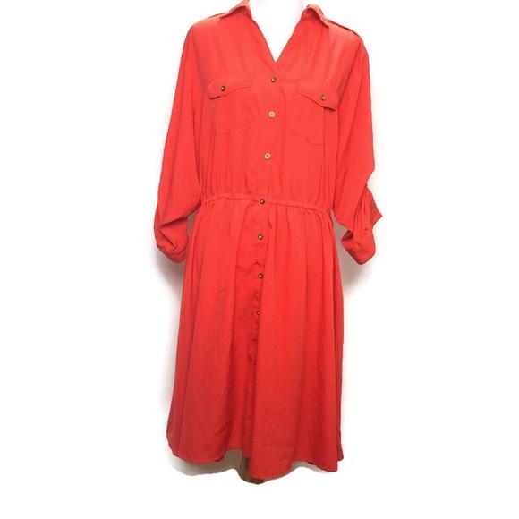 Speed Control Dresses & Skirts - Speed control orange button down shirt dress 2X